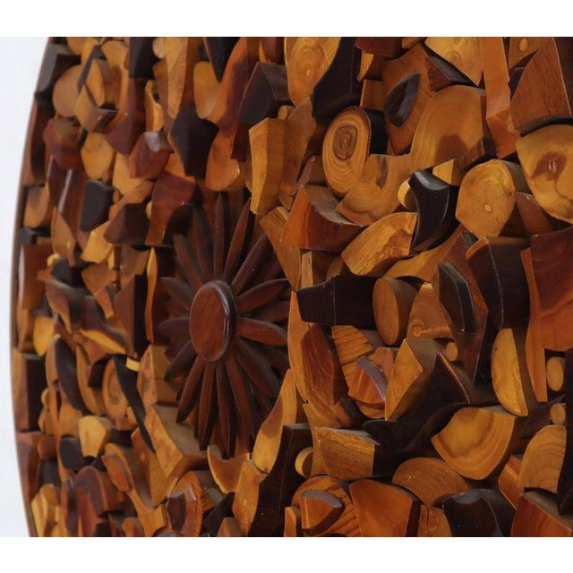 Mid 20th Century Round Wooden Wall Plaque Sculpture Sunburst For Sale - Image 5 of 8