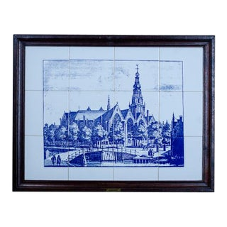 20th-Century Picture Made of Faience Tiles For Sale