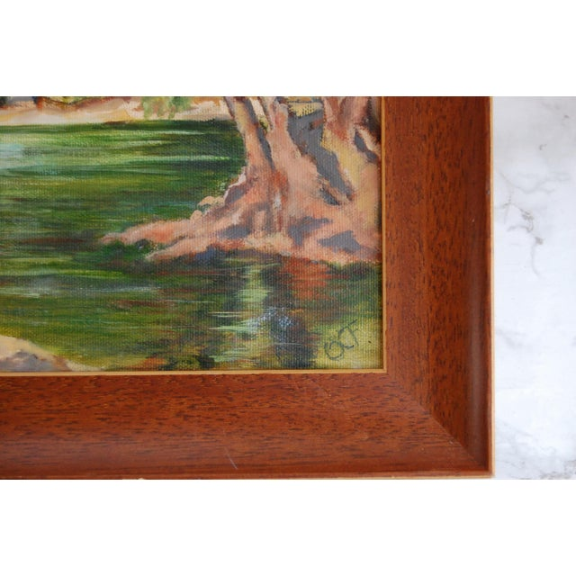 Green Vintage Lakeside Original Oil on Canvas Painting For Sale - Image 8 of 10