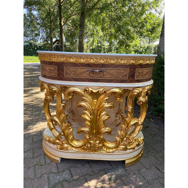 New Italian Rococo/Baroque Style Table in Gold and Brown With Wooden Top For Sale - Image 12 of 13