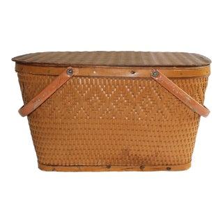 1950s Traditional Wooden Picnic Basket For Sale