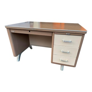 Vintage Mid Century Metal Writing Desk For Sale