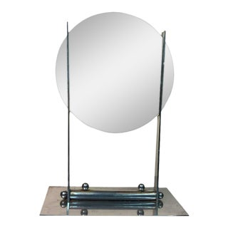 Donald Deskey Art Deco Round Table Mirror on Nickel Bronze Stand For Sale