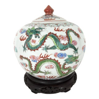 """The Five Dragons"" White Porcelain Ginger Jar & Carved Wood Stand For Sale"
