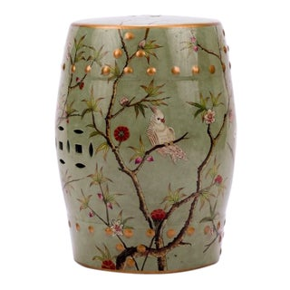 Famille Rose Green Bird Floral Motif Stool