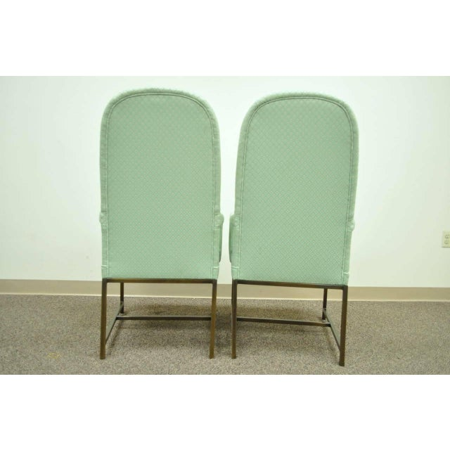 Green 1970s Modern Upholstered Arm Chairs - a Pair For Sale - Image 8 of 10