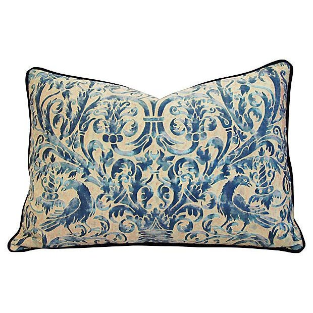 Custom Designer Italian Fortuny Uccelli Feather/Down Pillow (One Pillow) - Image 9 of 10