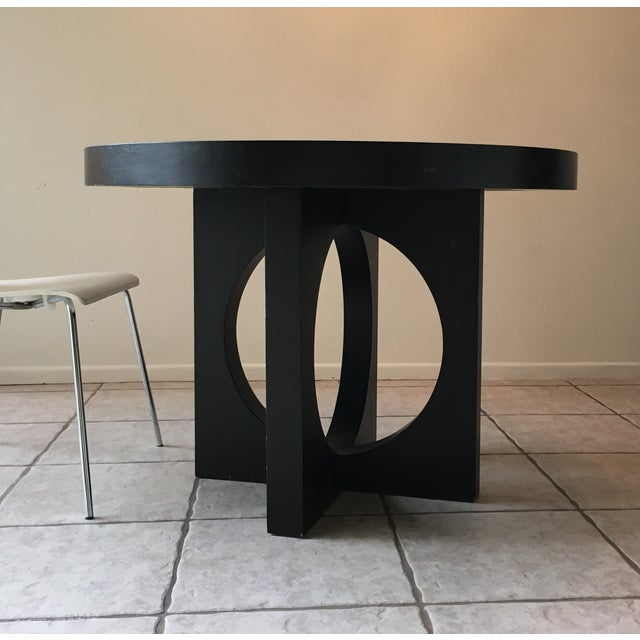 West Elm Black Round Cut Out Dining Table Image 2 Of 4