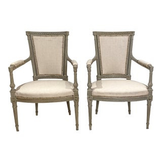 Louis XVI Painted Armchairs, Sweden Circa 1900 - a Pair For Sale