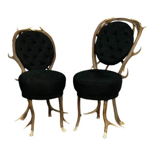 Pair Of Rare Antler Parlor Chairs, French Ca. 1860 For Sale