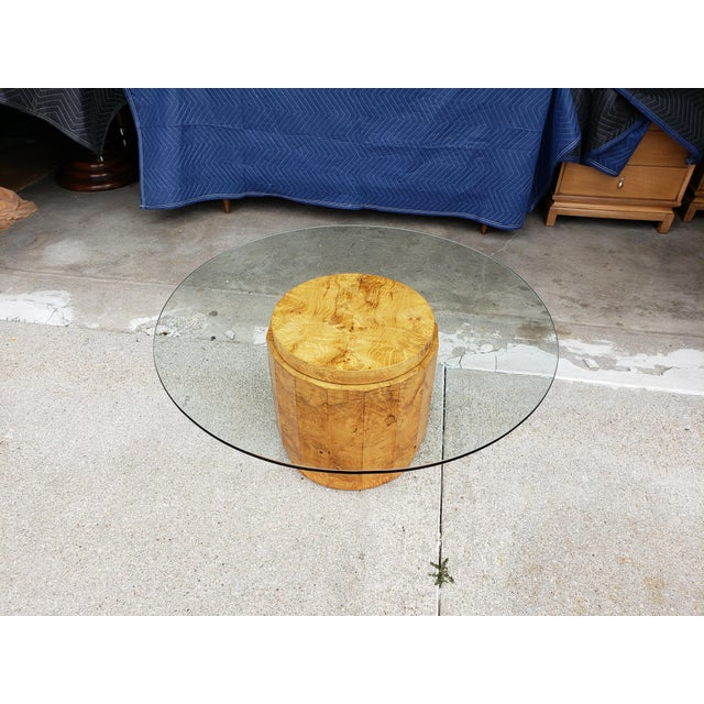 1960's Vintage Dunbar Edward Wormley Burled Olive Pedestal Coffee Table For Sale - Image 6 of 10