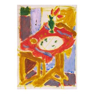 'Still Life in Interior' by Victor Di Gesu; 1955, Paris, Louvre, Académie Chaumière, California Post-Impressionist, Sfaa For Sale