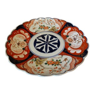 Large Antique Japanese Porcelain Scalloped Imari Charger Plate For Sale