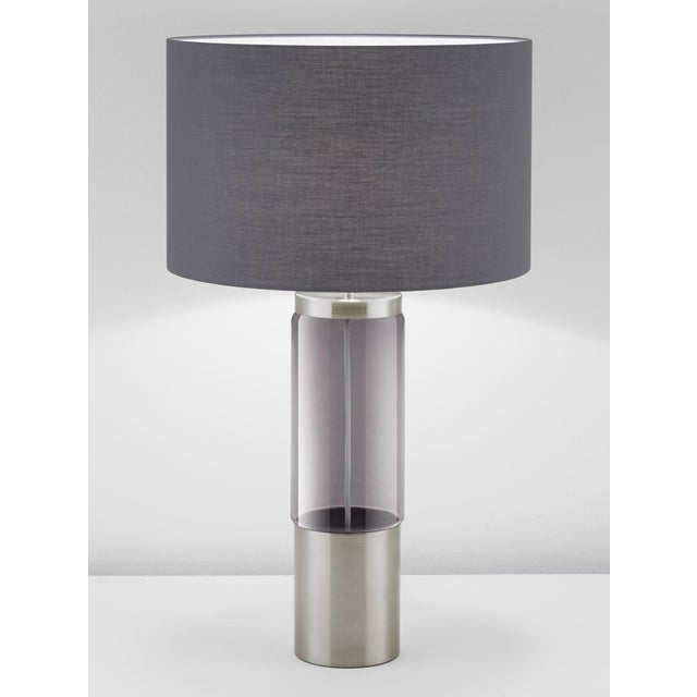 Iridescent Smoke glass tubular shaped lamp in brushed nickel and shade. An internal silk covered coloured matched cable....