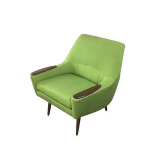1960s Mid-Century Modern Kurt Ostervig Green Linen Armchair For Sale