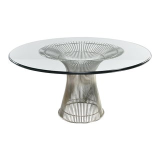 Warren Platner for Knoll Chrome Dining Table With Glass Top For Sale