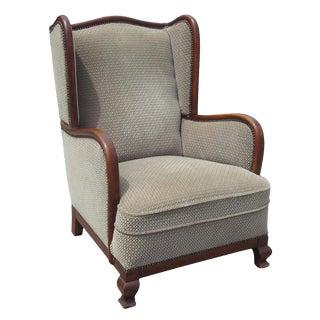 Vintage Art Deco Wing Armchair For Sale