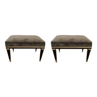Caracole Art Deco Beauty Mark Cut Velvet Benches - a Pair For Sale