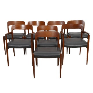 Set of 8 Teak Chairs by Niels Moller With Leather Seats For Sale