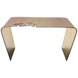 Italian Gold and Fuchsia Glass Console Table With Swarovski Strass Crystals For Sale