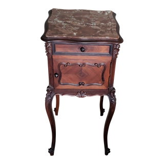 19th Century French Louis XV Rosewood Inlaid Bedside Table For Sale