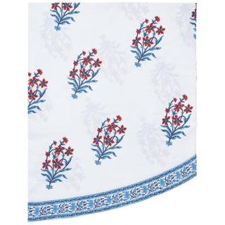 Nargis Orange & Blue Round Tablecloth, 120-Inch For Sale