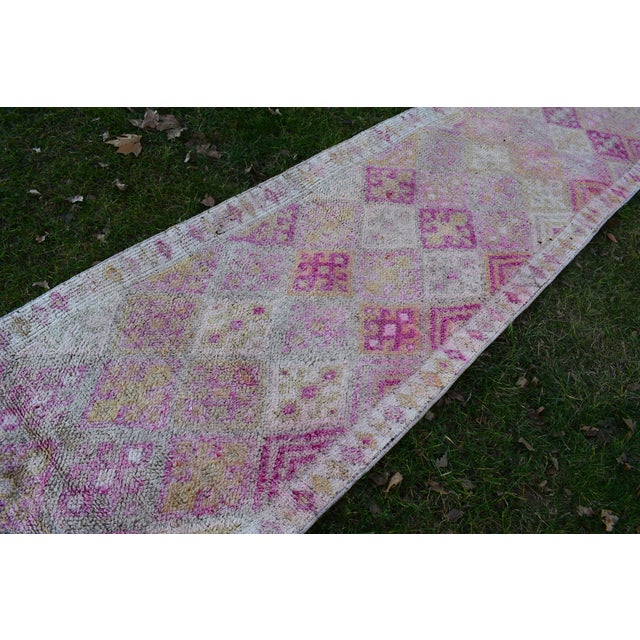 Distressed Turkish Oushak Runner Rug 2.6 X 13.5 Ft For Sale - Image 4 of 13