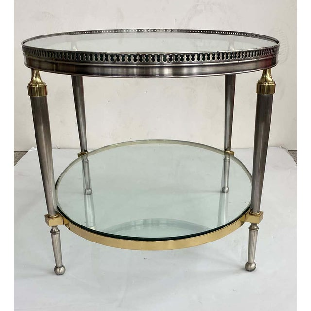 Trouvailles Steel Glass and Brass Oval Cocktail Table For Sale In West Palm - Image 6 of 13