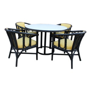 1960s Mid Century Modern McGuire Bamboo Rattan Dining Set - 5 Pieces For Sale