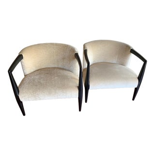 Mitchell Gold Ebony and Velvet Chairs - a Pair For Sale