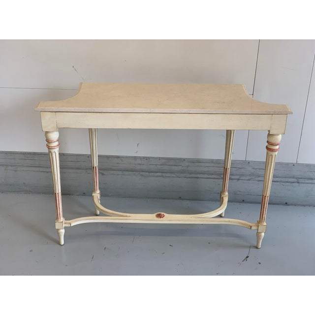 20th Century Hollywood Regency Marble Top Console Table For Sale - Image 4 of 11