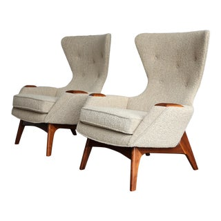 Vintage Mid Century Adrian Pearsall for Craft Associates Wing High Back Chairs- A Pair For Sale