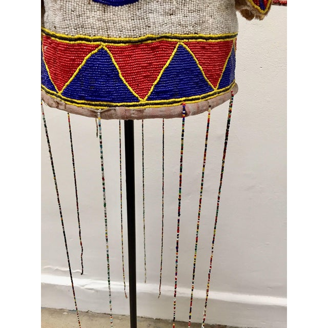 Yoruba Nigeria African Royal Beaded Headdress Crown on Stand For Sale - Image 10 of 13