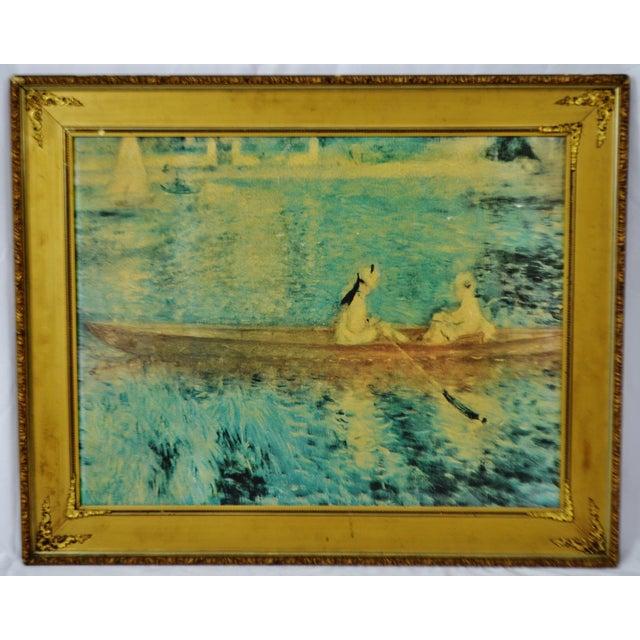 """Vintage Gold Gilt Framed Renoir """"Boating on the Seine"""" Print on Board For Sale - Image 13 of 13"""