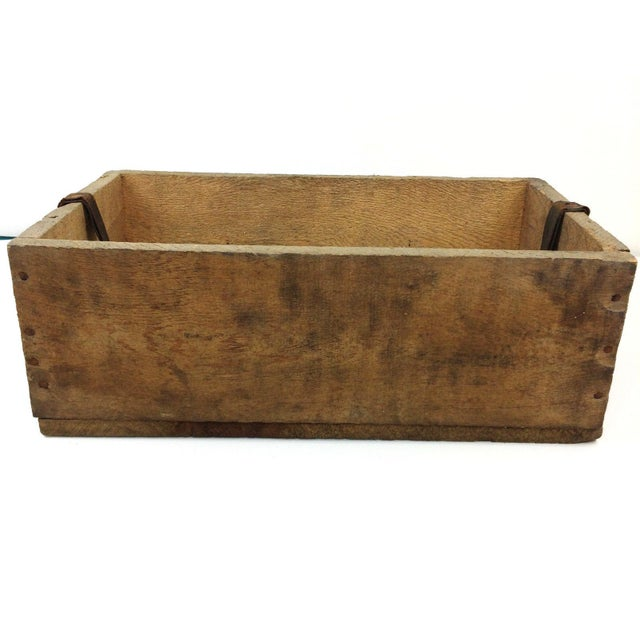 Primitive Wood Tool Box Weil McLain Boiler Crate With Leather Strap ...