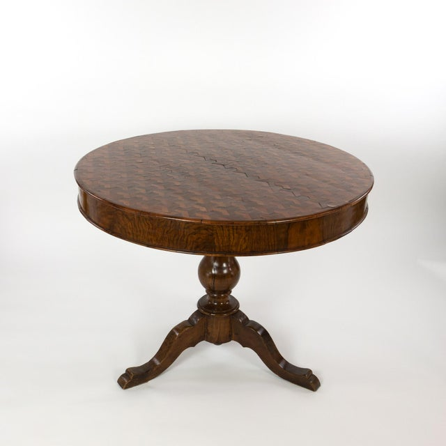 Wood Italian Walnut Round Pedestal Base Center Table With Concave Hexagonal Parquetry Inlay, Circa 1860 For Sale - Image 7 of 10