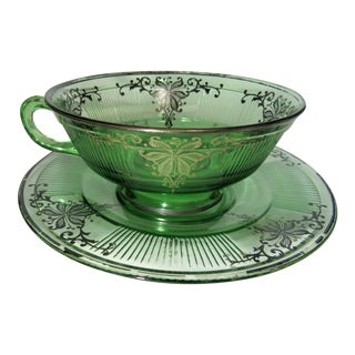 Large Vintage Green Depression Glass Heisley Tea Cup + Saucer, Sterling Silver Overlay For Sale
