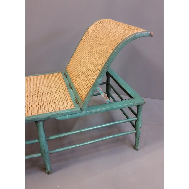 Antique 1920s French Wood and Cane Lounge Chair For Sale - Image 4 of 13