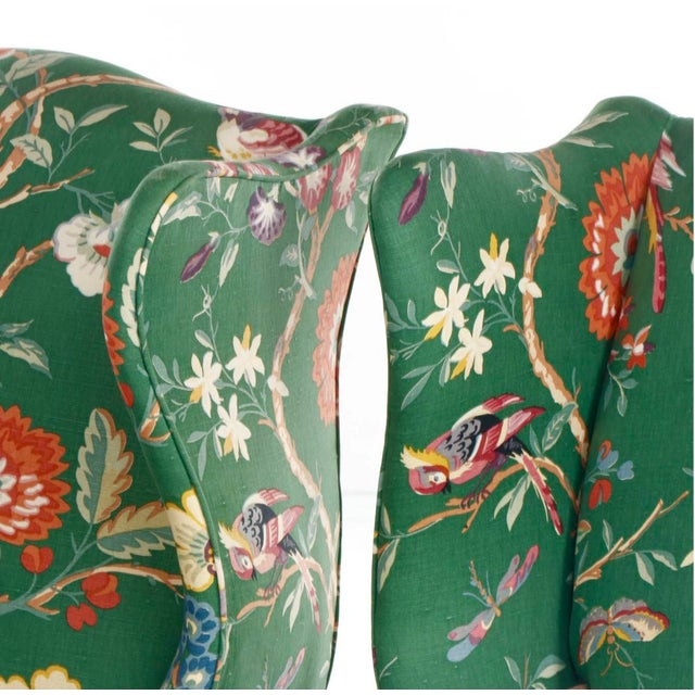Wood Vintage George III Style Wingback Chairs - a Pair For Sale - Image 7 of 10