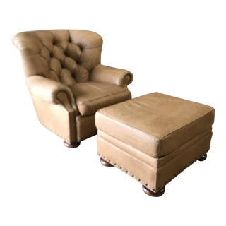 1990s Vintage Leather Writer's Tufted Chair For Sale