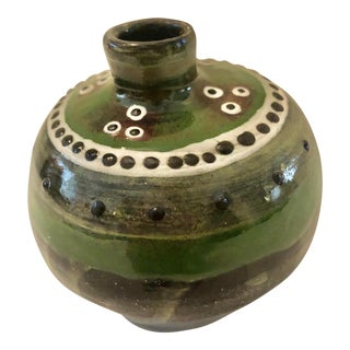 Small Green and Brown Decorative Art Pottery Vase For Sale