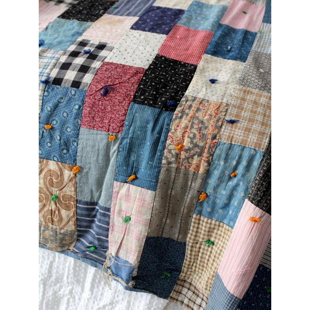 Cotton Vintage Hand-Tied Patchwork Quilt For Sale - Image 7 of 10