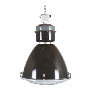 Large Enamel Factory, Industrial Pendant Lamp Parabolic Glass For Sale