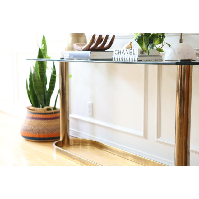 Mid-Century Pace Collection Glass Console Table - Image 5 of 8