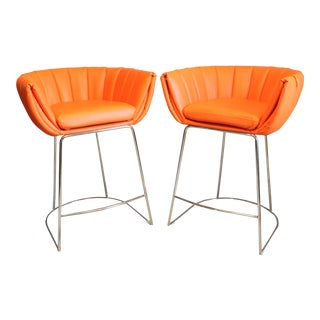 Contemporary Zuo Modern Orange Latte Counter Height Chairs - a Pair For Sale
