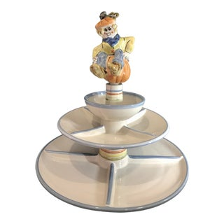 Vintage Louisville Stoneware Seasonal 3 Tier Serving Platter With Four Changeable Topper Figurines - Set of 7 For Sale