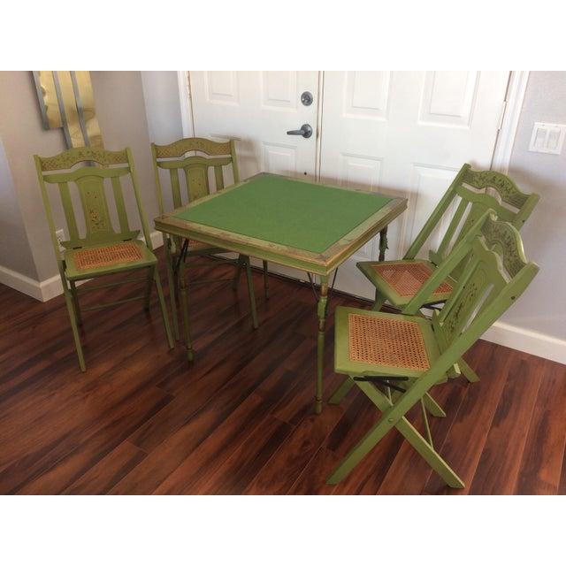 Vintage Ferguson Felt Card Table & Chairs For Sale - Image 4 of 8
