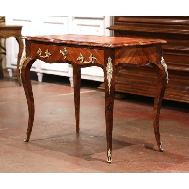 Mid 19th Century 19th Century French Louis XV Marquetry and Bronze Ladies Desk With Leather Top For Sale - Image 5 of 13