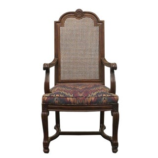 Late 20th Century Vintage Henredon Folio Seven Country French Cane Back Dining Arm Chair For Sale