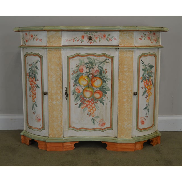 Italian Hand Painted Narrow Serpentine Console Cabinet For Sale - Image 9 of 13